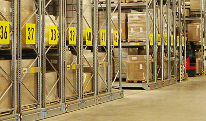 Semi-automation mobile pallet racking